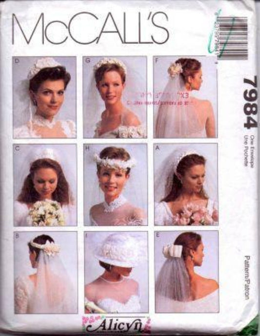 McCall's 7984 Bride Veil Wedding Headpiece Hat Vintage 1990's Pattern - VintageStitching - Vintage Sewing Patterns