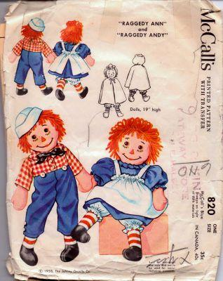 McCall's 820 Raggedy Ann Andy Stuffed Doll and Clothes Vintage 1950's Pattern - VintageStitching - Vintage Sewing Patterns
