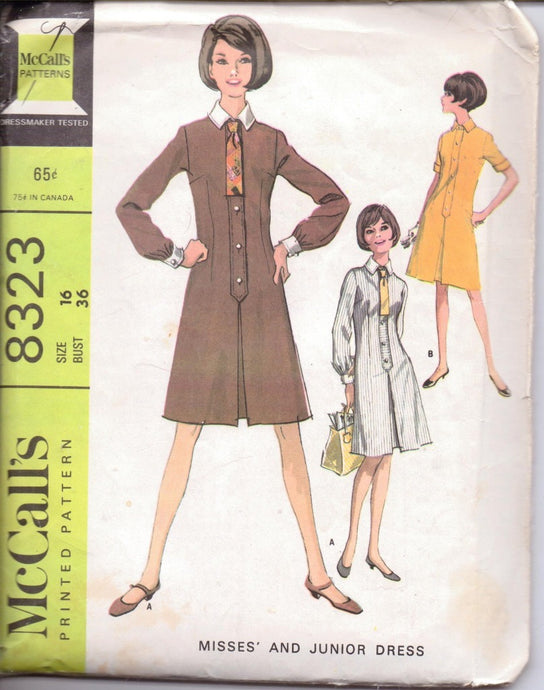 McCall's 8323 Ladies Shirtwaist Dress Vintage 1960's Sewing Pattern Size 16 Bust 36 - VintageStitching - Vintage Sewing Patterns