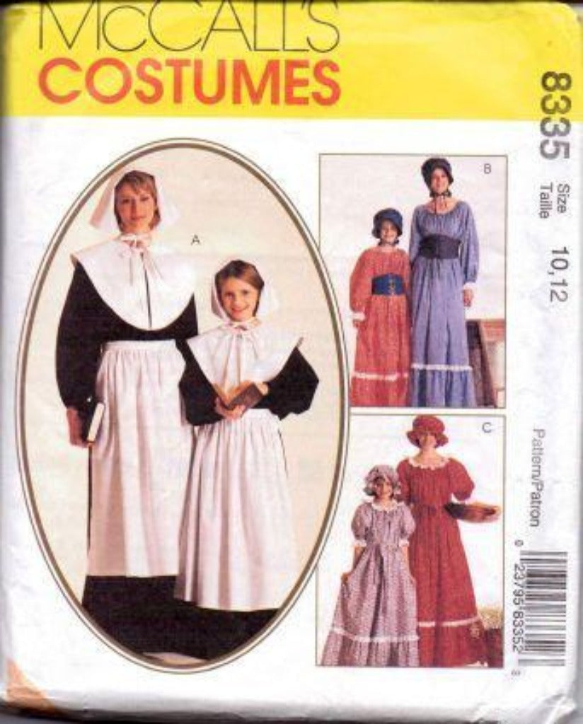 McCall's 8335 Girls Pilgrim Dress Halloween Costume Pattern Vintage 1990's - VintageStitching - Vintage Sewing Patterns