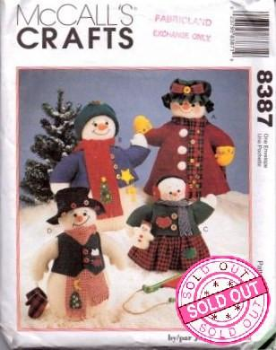 McCall's 8387 Christmas Crafts Snowman Family Vintage 1990's Pattern - VintageStitching - Vintage Sewing Patterns