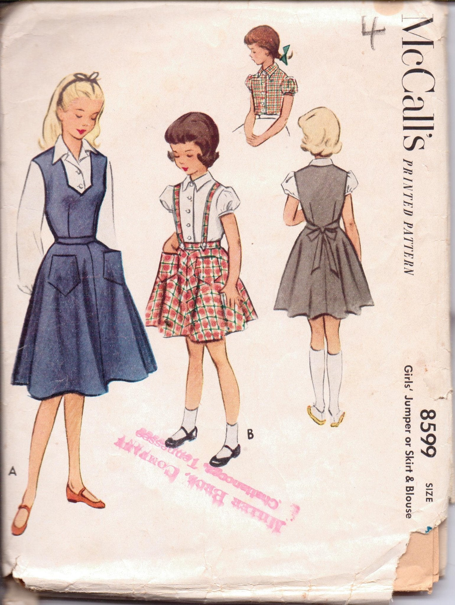 McCall's 8599 Little Girls Jumper Dress Blouse Suspender Skirt Vintage 1950's Sewing Pattern - VintageStitching - Vintage Sewing Patterns
