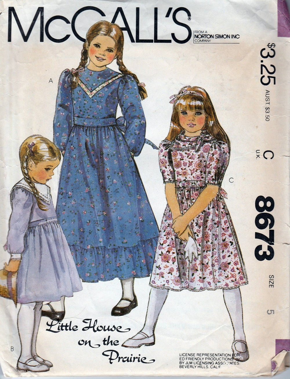 McCall's 8673 Vintage 80's Sewing Pattern Pullover Dress Scarf Little House on the Prairie - VintageStitching - Vintage Sewing Patterns