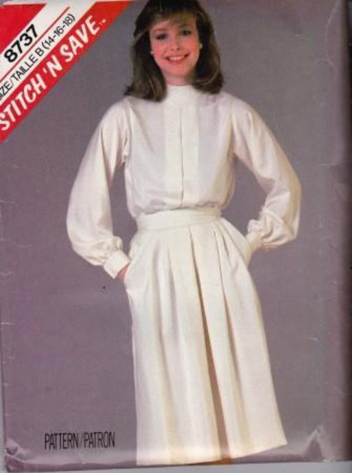 McCall's 8737 Stitch N' Save Blouse Skirt Vintage 80's Sewing Pattern - VintageStitching - Vintage Sewing Patterns