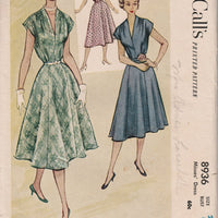 McCall's 8936 Ladies Shirtwaist Dress Vintage 1950's Sewing Pattern - VintageStitching - Vintage Sewing Patterns