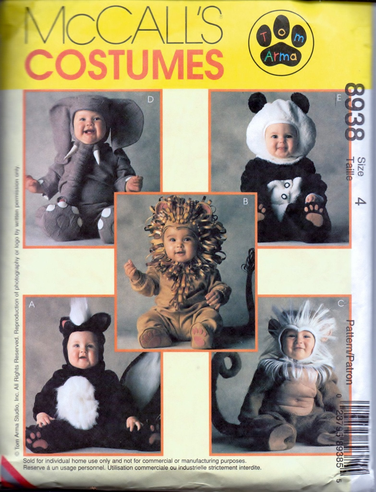 McCall's 8938 Children Skunk Lion Monkey Elephant Panda Halloween Costume Pattern Boys Girls - VintageStitching - Vintage Sewing Patterns