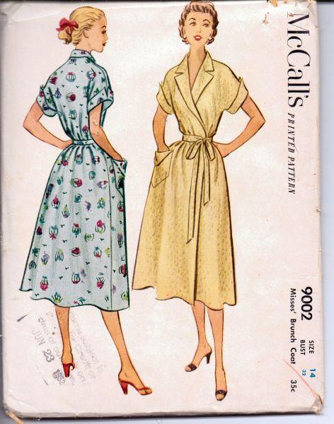 McCall's 9002 Vintage 1950's Sewing Pattern Ladies Wrap Housewife Hostess Dress Brunch Coat Robe - VintageStitching - Vintage Sewing Patterns