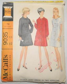 McCall's 9035 Vintage Sewing Pattern Ladies Coat Housewife Mod Dress 1960's - VintageStitching - Vintage Sewing Patterns
