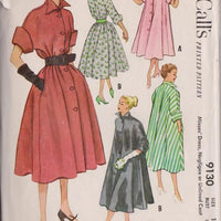 McCall's 9130 Ladies Housewife Dress Negligee Unlined Coat Vintage 1950's Sewing Pattern - VintageStitching - Vintage Sewing Patterns