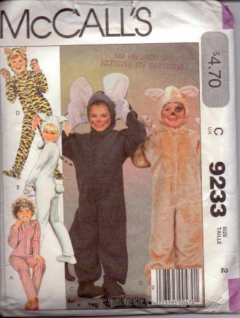 McCall's 9233 Toddlers Tiger Cat Mouse Bunny Halloween Costume Pattern Vintage - VintageStitching - Vintage Sewing Patterns