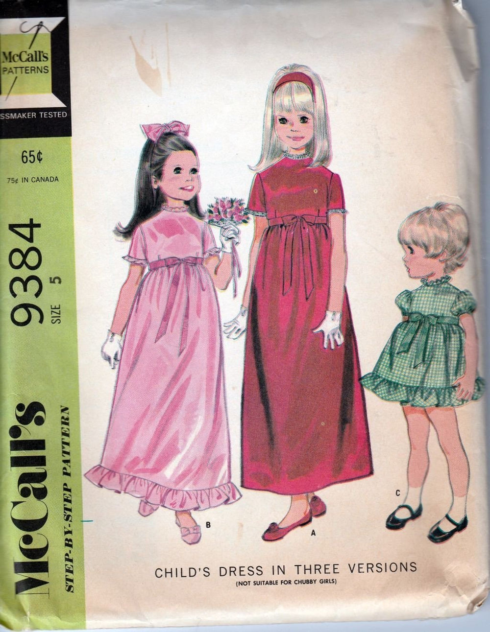McCall's 9384 Vintage 1960's Sewing Pattern Little Girls Flower Girl Dress Gown - VintageStitching - Vintage Sewing Patterns