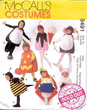 McCall's 9491 Toddlers Penguin Mouse Bunny Clown Bee Pumpkin Halloween Costume Pattern - VintageStitching - Vintage Sewing Patterns