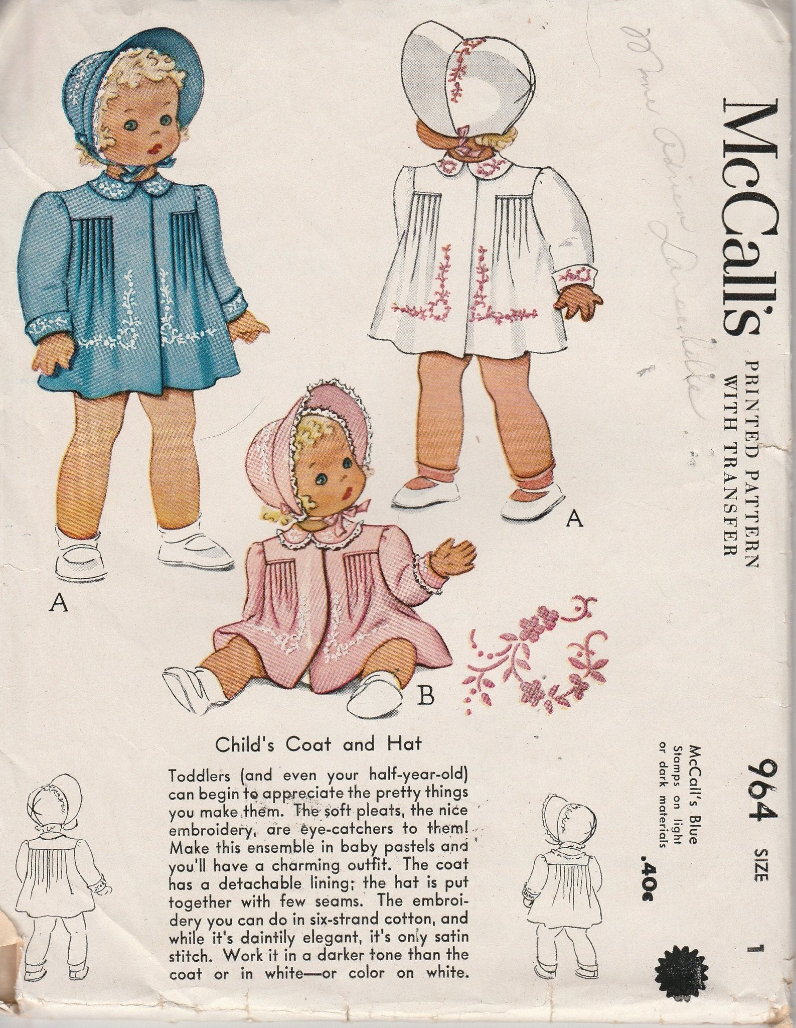 McCall's 964 Toddler Coat Hat Bonnet Vintage 1940's Sewing Pattern Little Girl Baby Infant - VintageStitching - Vintage Sewing Patterns