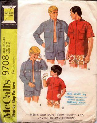 McCall's 9708 Mens Swim Short and Summer Jacket Vintage 60's Pattern - VintageStitching - Vintage Sewing Patterns