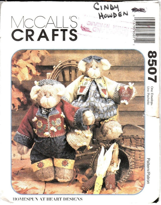McCall's Craft 8507 Homespun at Heart Designs Honey Bee Bear Sewing Pattern Stuffed Animal - VintageStitching - Vintage Sewing Patterns