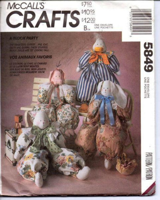 McCall's Crafts 5849 Block Animals Pig Cat Duck Bunny Sewing Pattern - VintageStitching - Vintage Sewing Patterns