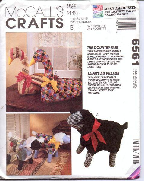 McCall's Crafts 6561 Lamb Goose Stuffed Animal Sewing Craft Pattern - VintageStitching - Vintage Sewing Patterns