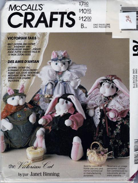 McCall's Crafts 761 Victorian Cat Bunny Stuffed Dolls and Clothes Sewing Pattern - VintageStitching - Vintage Sewing Patterns