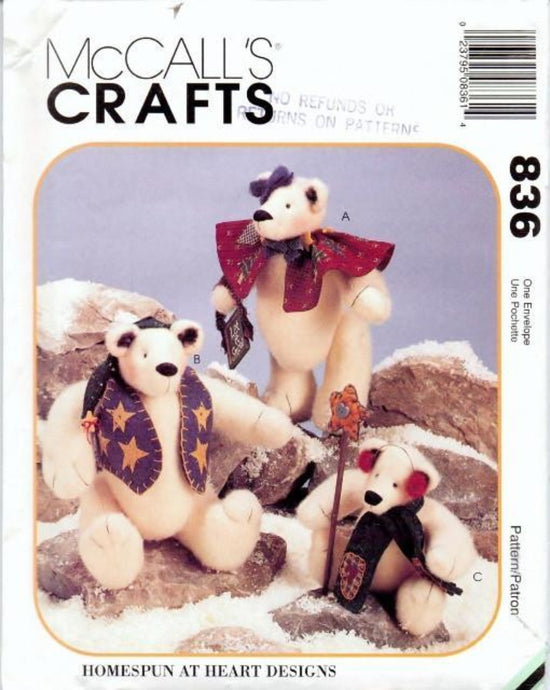 McCall's Crafts 836 Stuffed Bear Winter Christmas Craft Sewing Pattern - VintageStitching - Vintage Sewing Patterns