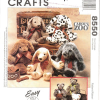 McCall's Crafts 8550  Carols Zoo Cat Puppy Dog Stuffed Animals Sewing Pattern - VintageStitching - Vintage Sewing Patterns