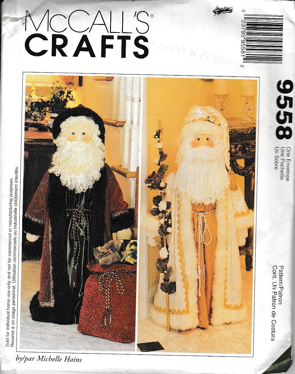 McCall's Crafts 9558 Christmas Greeter Santa Sewing Pattern - VintageStitching - Vintage Sewing Patterns