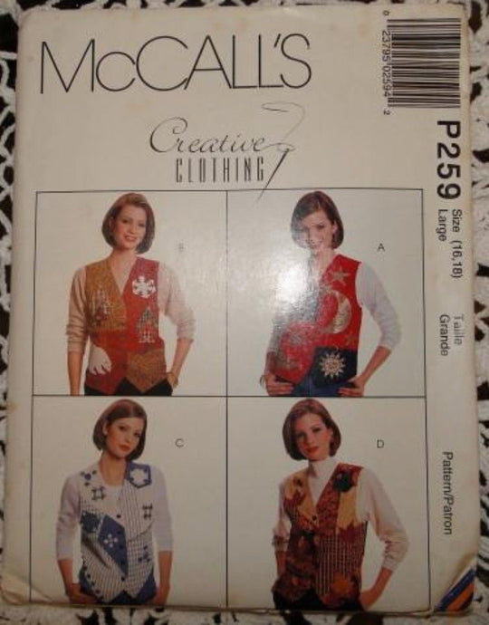 McCall's P259 Sewing Pattern Ladies Vest and Appliques 1995 - VintageStitching - Vintage Sewing Patterns