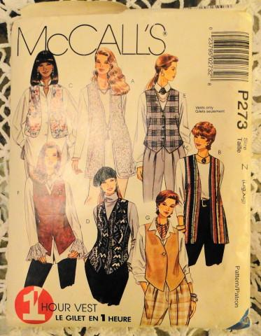 McCall's P273 Sewing Pattern Misses Unlined Vest Vintage 1990 - VintageStitching - Vintage Sewing Patterns