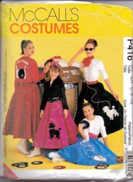 McCall's P416 Girls Poodlle Skirt Jacket 50's Halloween Costume Vintage Pattern - VintageStitching - Vintage Sewing Patterns