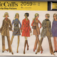 McCalls 2059 Vintage 1960's Sewing Pattern Ladies Jumper Dress Coat Pants - VintageStitching - Vintage Sewing Patterns