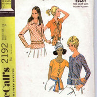 McCalls 2192 Ladies Blouse Vintage 1960's Sewing Pattern - VintageStitching - Vintage Sewing Patterns