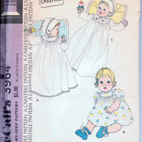 McCalls 3964 Infants Baby Dress Coat Bonnet Vintage 1970's Sewing Pattern - VintageStitching - Vintage Sewing Patterns