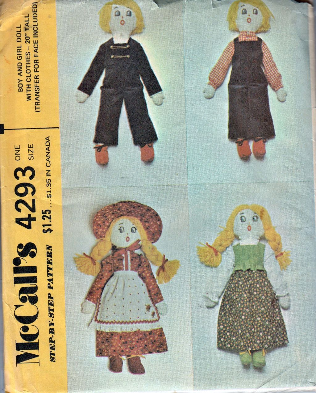 McCalls 4293 Vintage Doll with Clothes Craft Sewing Pattern - VintageStitching - Vintage Sewing Patterns