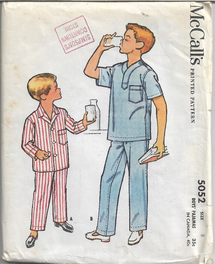 McCalls 5052 Boys Pajamas Vintage Sewing Pattern 1950s - VintageStitching - Vintage Sewing Patterns