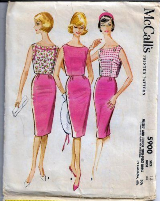 McCalls 5900 Junior Ladies Slim Skirt Short Top Two Piece Dress Vintage Pattern 1960s - VintageStitching - Vintage Sewing Patterns