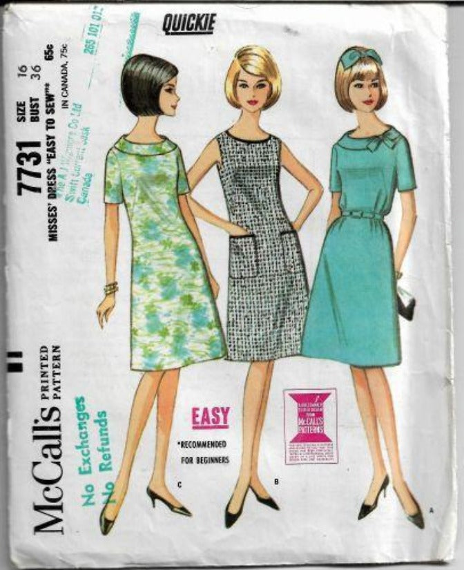 McCalls 7731 Vintage Sewing Pattern 1960s Ladies Flared Dress - VintageStitching - Vintage Sewing Patterns