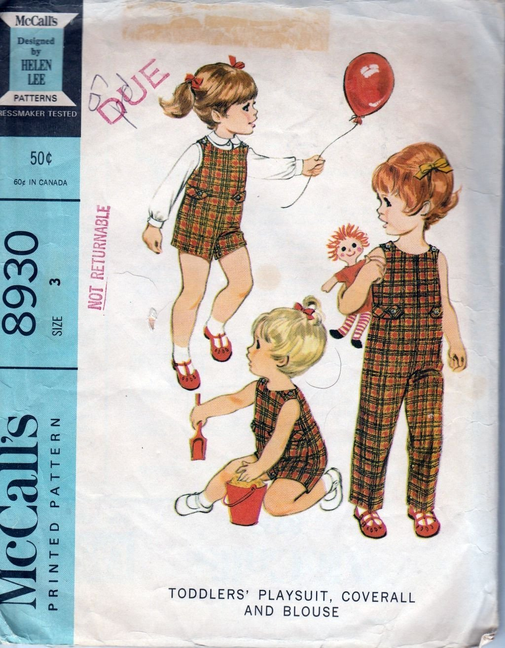 McCalls 8390 Vintage 60's Sewing Pattern Toddler Playsuit Overalls Jumpsuit Romper - VintageStitching - Vintage Sewing Patterns