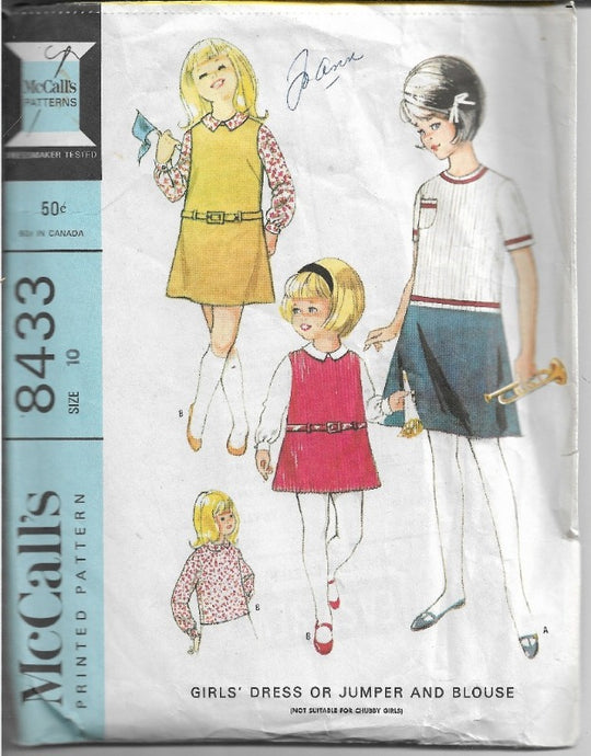 McCalls 8433 Girls Dress Blouse Jumper Dress Vintage 1960's Sewing Pattern - VintageStitching - Vintage Sewing Patterns