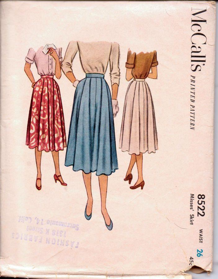 McCalls 8522 Vintage 1950's Sewing Pattern Ladies Pleated Skirt - VintageStitching - Vintage Sewing Patterns