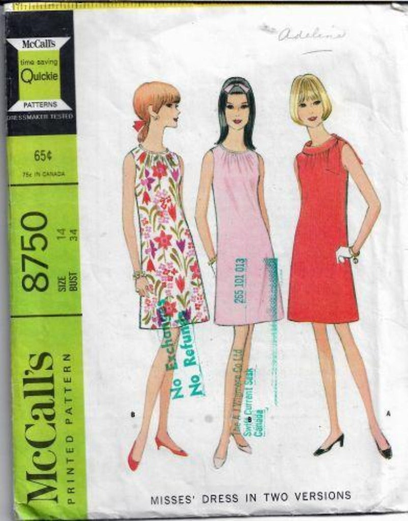 McCalls 8750 Ladies Sleeveless Dress Vintage Sewing Pattern 1960s - VintageStitching - Vintage Sewing Patterns
