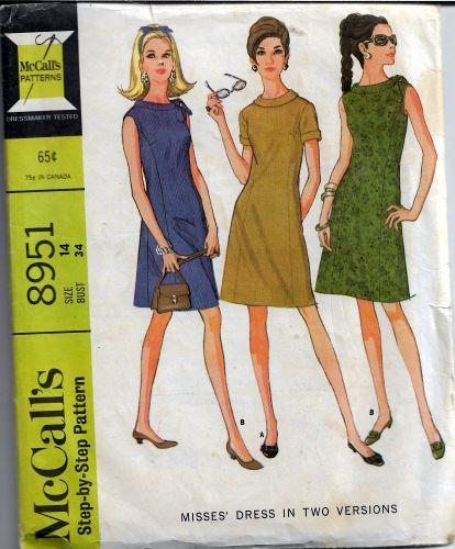 McCalls 8951  Ladies Above Knee Dress Vintage Sewing Pattern 1960s - VintageStitching - Vintage Sewing Patterns