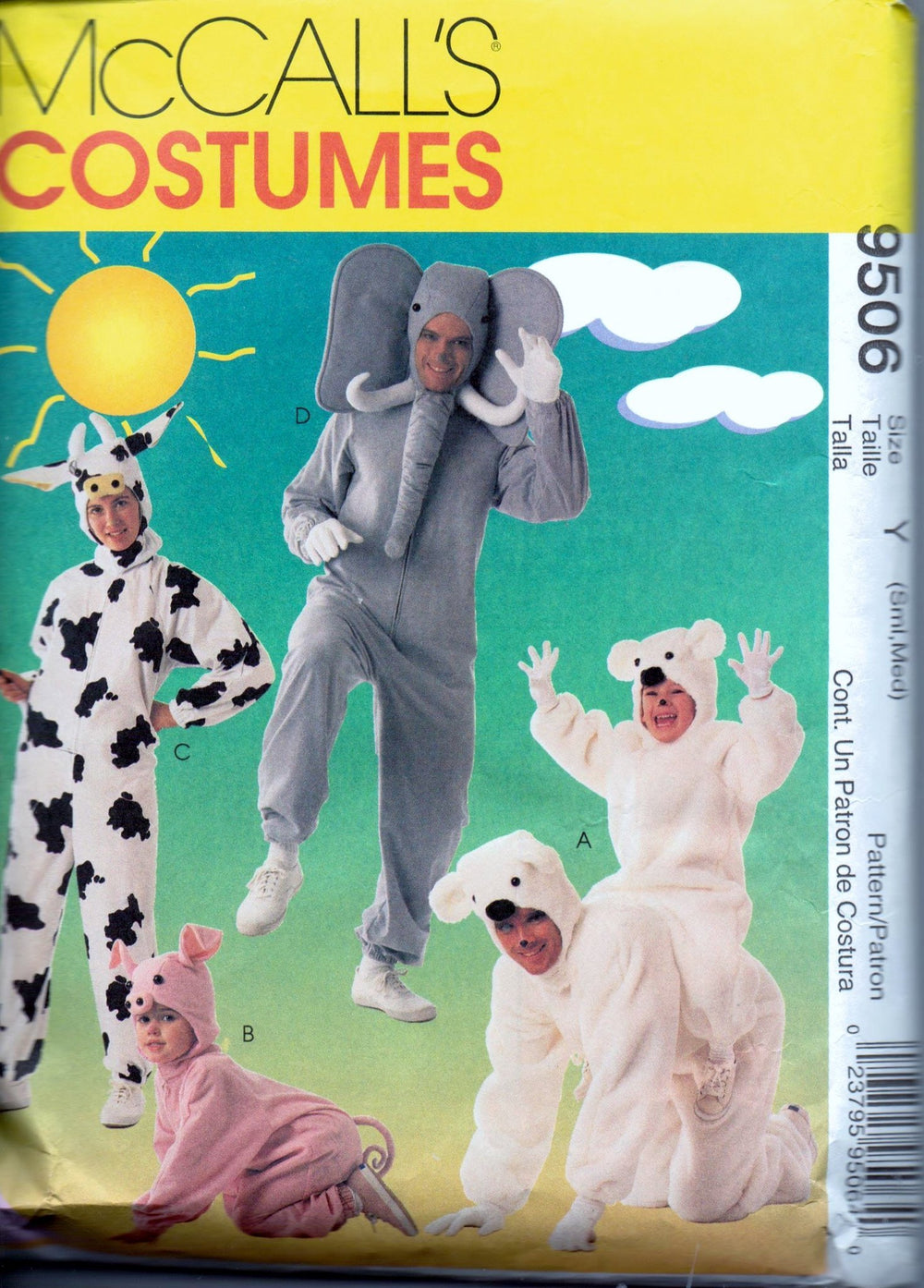McCalls 9506 Adult Halloween Costume Pattern Bear Pig Cow Elephant Ladies Mens - VintageStitching - Vintage Sewing Patterns