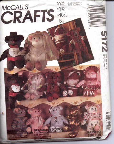 McCalls Crafts 5172 Stuffed Bear Doll Clothes Sewing Craft Pattern - VintageStitching - Vintage Sewing Patterns