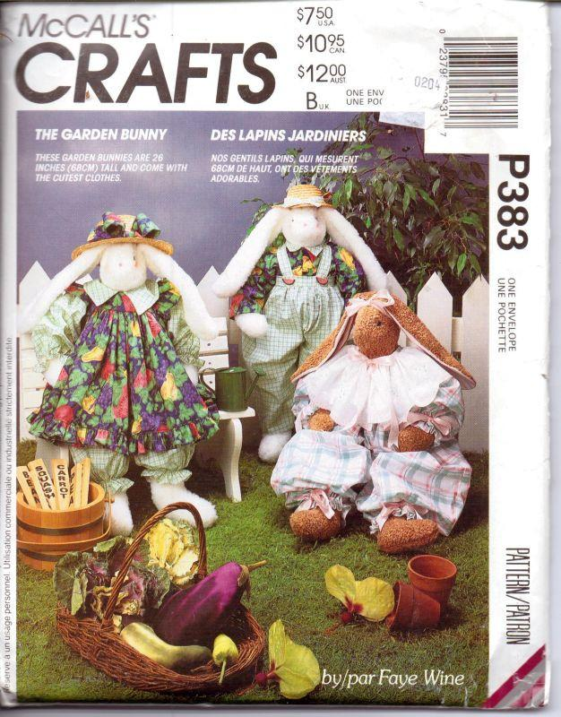 McCalls Crafts P383 Stuffed Garden Bunny Rabbit Doll and Clothes Sewing Pattern - VintageStitching - Vintage Sewing Patterns