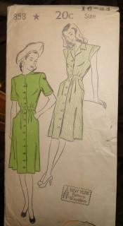 New York Gold Seal 858 Vintage Sewing Pattern Ladies Dress 1930's - VintageStitching - Vintage Sewing Patterns