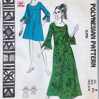 Polynesian 201 Vintage Sewing Pattern 1960's Ladies Hawaiian Mini Maxi Dress Iliama - VintageStitching - Vintage Sewing Patterns