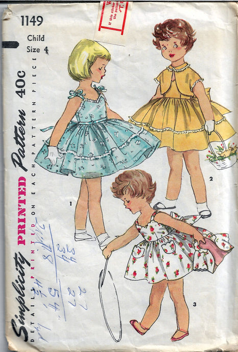 simplicity 1149 childs dress vintage pattern 1950s