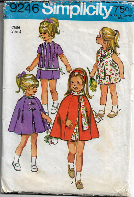 simplicity 9246 girls cape dress vintage pattern 1970