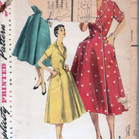 Simplicity 1028 Vintage 1950's Sewing Pattern Ladies Wrap House Dress Front Button Brunch Coat - VintageStitching - Vintage Sewing Patterns