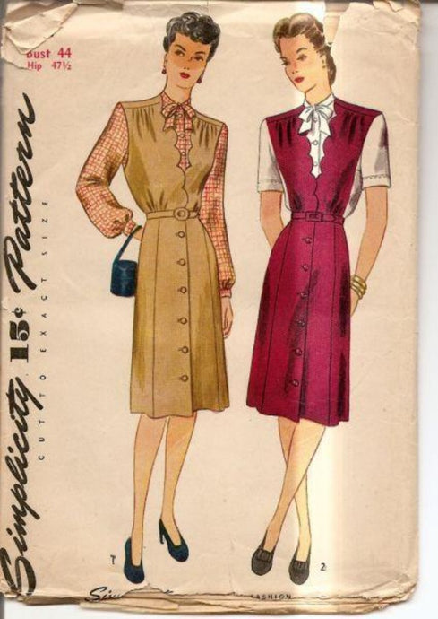 Simplicity 1137  1940's Vintage Pattern Ladies Scalloped Jumper Dress - VintageStitching - Vintage Sewing Patterns