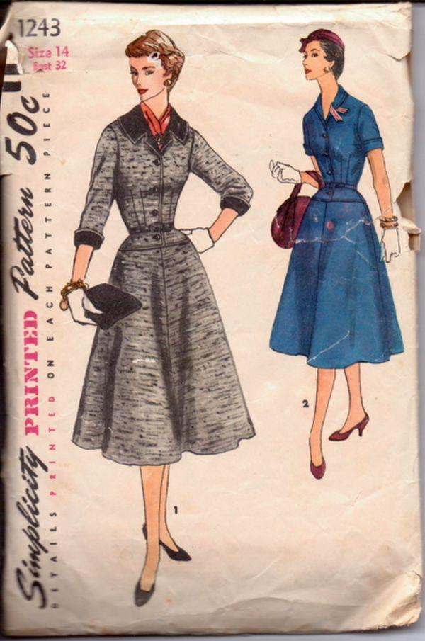 Simplicity 1243 1950's Ladies One Piece Chic Dress Moderately Flared Vintage Sewing Pattern Rare - VintageStitching - Vintage Sewing Patterns